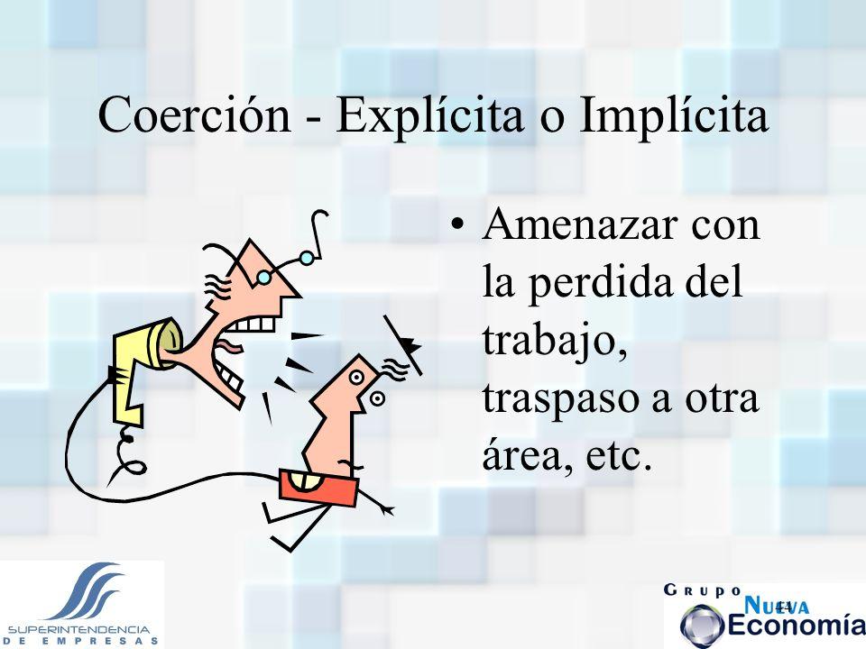 44 Coerción - Explícita o Implícita Amenazar con la perdida del trabajo, traspaso a otra área, etc.