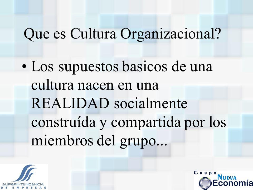 6 Que es Cultura Organizacional? Los supuestos basicos de una cultura nacen en una REALIDAD socialmente construída y compartida por los miembros del g