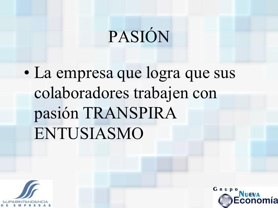 69 PASIÓN La empresa que logra que sus colaboradores trabajen con pasión TRANSPIRA ENTUSIASMO