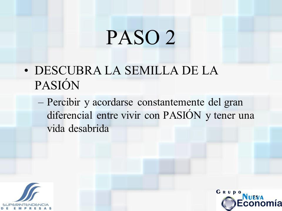 75 PASO 2 DESCUBRA LA SEMILLA DE LA PASIÓN –Percibir y acordarse constantemente del gran diferencial entre vivir con PASIÓN y tener una vida desabrida