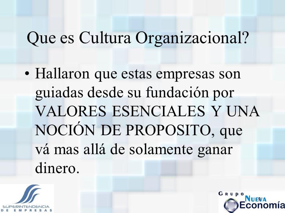9 Que es Cultura Organizacional? Hallaron que estas empresas son guiadas desde su fundación por VALORES ESENCIALES Y UNA NOCIÓN DE PROPOSITO, que vá m