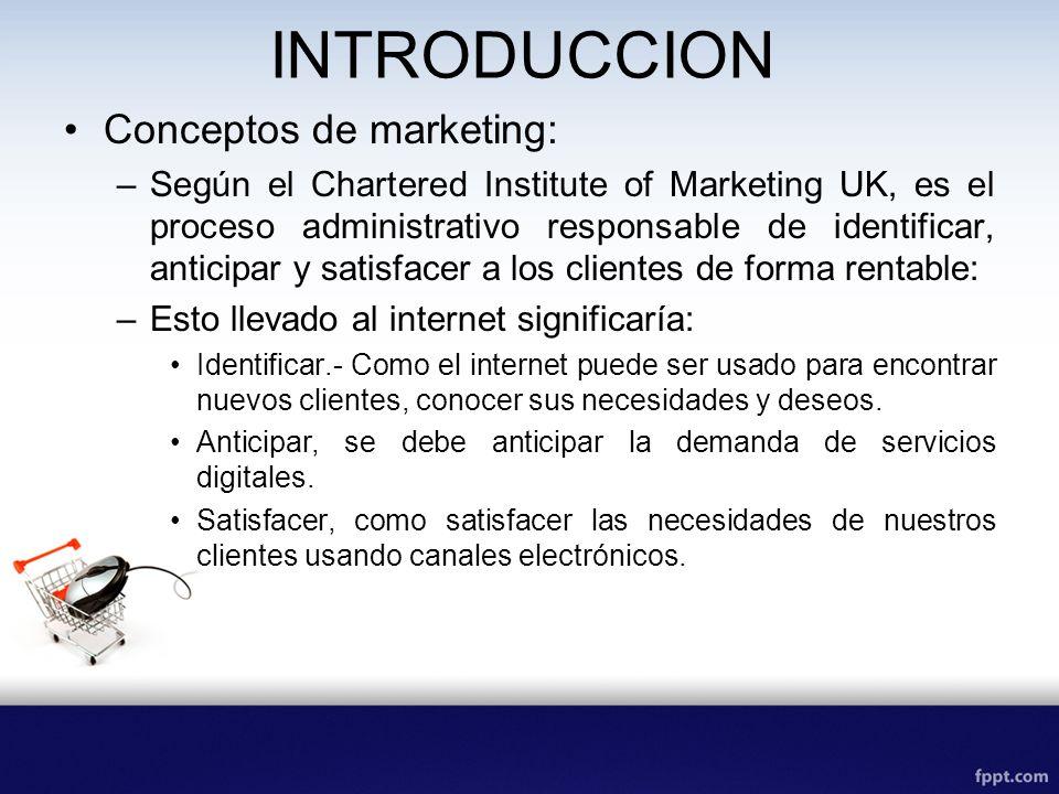 INTRODUCCION Conceptos de emarketing: –Se refiere a como el internet puede ser usado fusionar con la multimedia tradicional para entregar servicios a nuestros clientes.