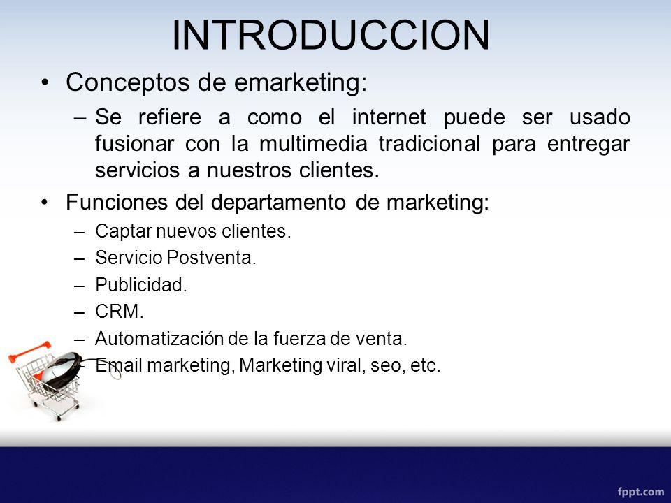 INTRODUCCION Conceptos de emarketing: –Se refiere a como el internet puede ser usado fusionar con la multimedia tradicional para entregar servicios a