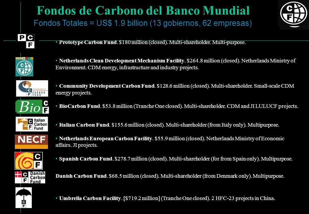 Fondos de Carbono del Banco Mundial Prototype Carbon Fund. $180 million (closed). Multi-shareholder. Multi-purpose. Netherlands Clean Development Mech