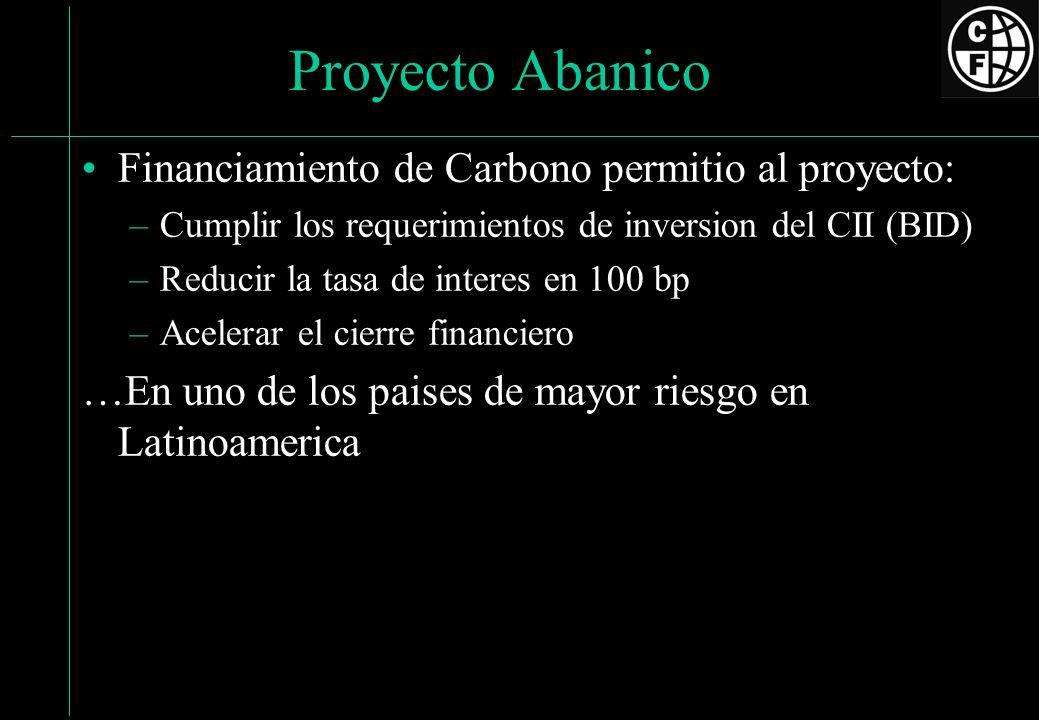Proyecto Abanico Financiamiento de Carbono permitio al proyecto: –Cumplir los requerimientos de inversion del CII (BID) –Reducir la tasa de interes en