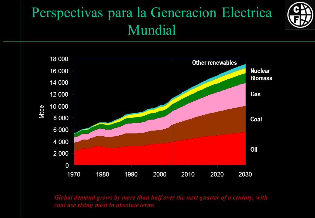 Perspectivas para la Generacion Electrica Mundial Oil Coal Gas Biomass Nuclear Other renewables 0 2 000 4 000 6 000 8 000 10 000 12 000 14 000 16 000