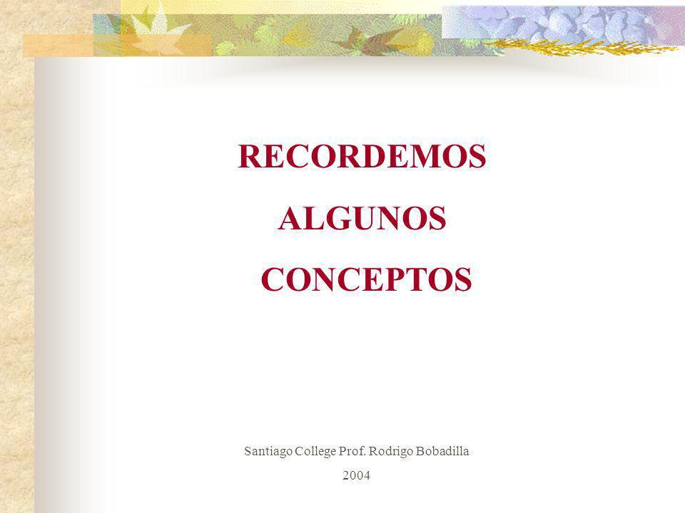 RECORDEMOS ALGUNOS CONCEPTOS Santiago College Prof. Rodrigo Bobadilla 2004