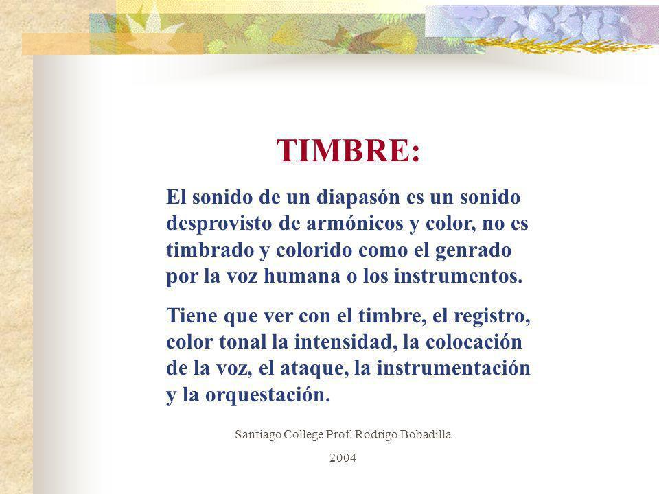 TIMBRE: El sonido de un diapasón es un sonido desprovisto de armónicos y color, no es timbrado y colorido como el genrado por la voz humana o los inst