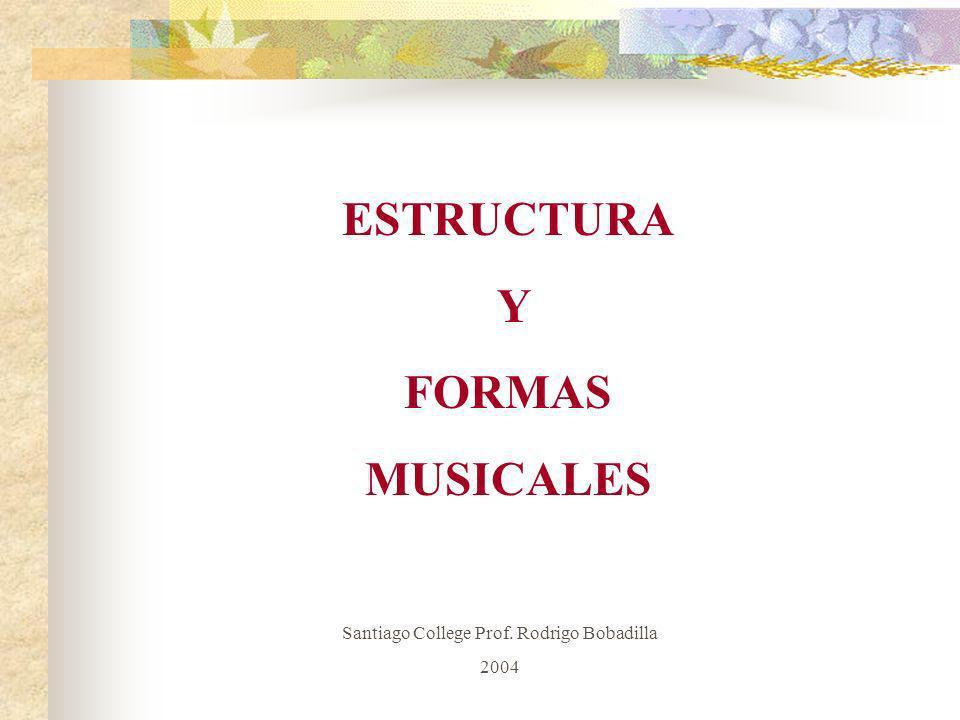 ESTRUCTURA Y FORMAS MUSICALES Santiago College Prof. Rodrigo Bobadilla 2004