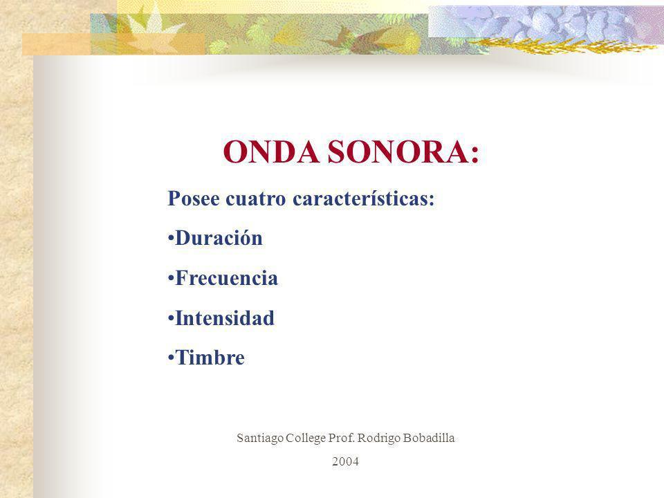 ONDA SONORA: Posee cuatro características: Duración Frecuencia Intensidad Timbre Santiago College Prof. Rodrigo Bobadilla 2004