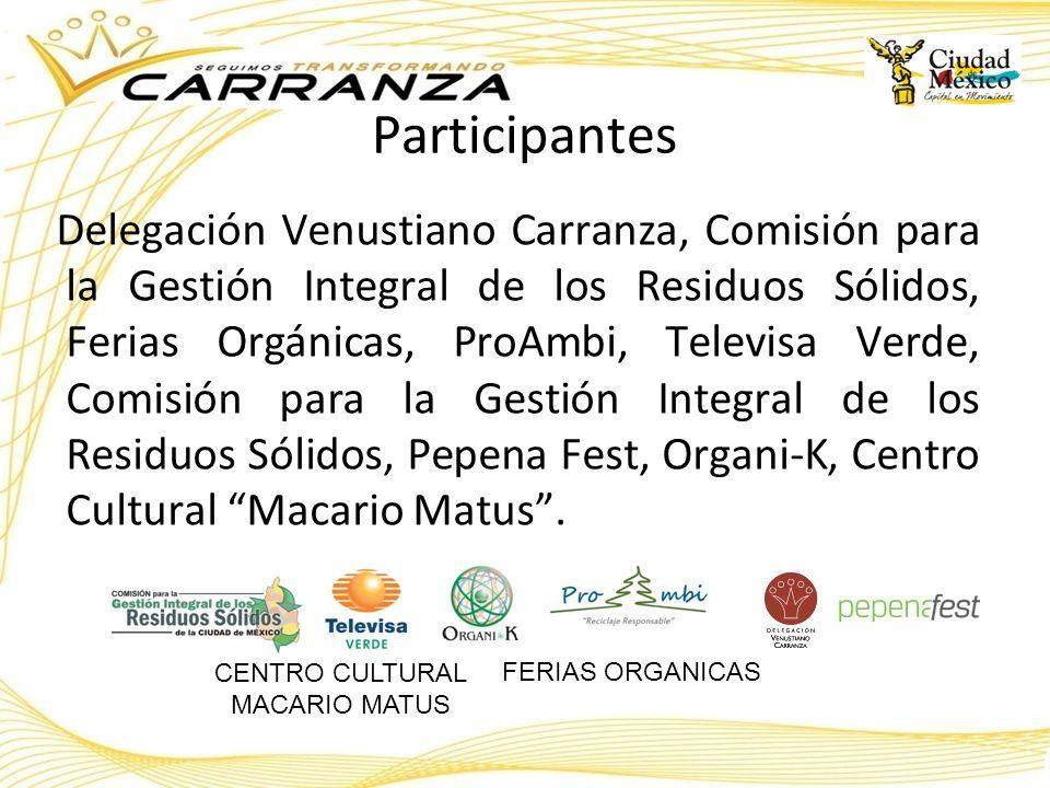 Participantes Delegación Venustiano Carranza, Comisión para la Gestión Integral de los Residuos Sólidos, Ferias Orgánicas, ProAmbi, Televisa Verde, Co
