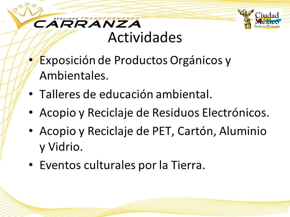 Actividades Exposición de Productos Orgánicos y Ambientales. Talleres de educación ambiental. Acopio y Reciclaje de Residuos Electrónicos. Acopio y Re