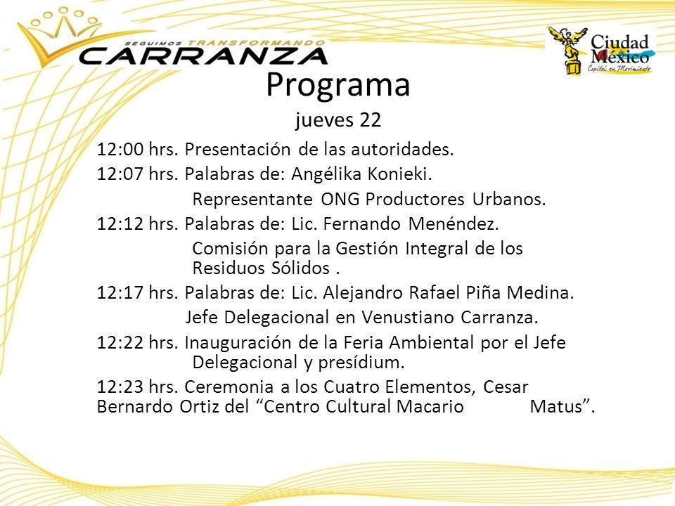 Programa jueves 22 12:00 hrs. Presentación de las autoridades. 12:07 hrs. Palabras de: Angélika Konieki. Representante ONG Productores Urbanos. 12:12