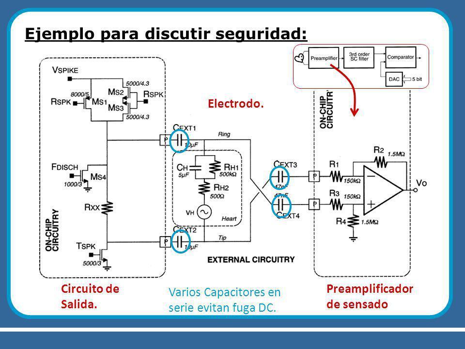 Ejemplo para discutir seguridad: Circuito de Salida. Electrodo. Preamplificador de sensado Varios Capacitores en serie evitan fuga DC.