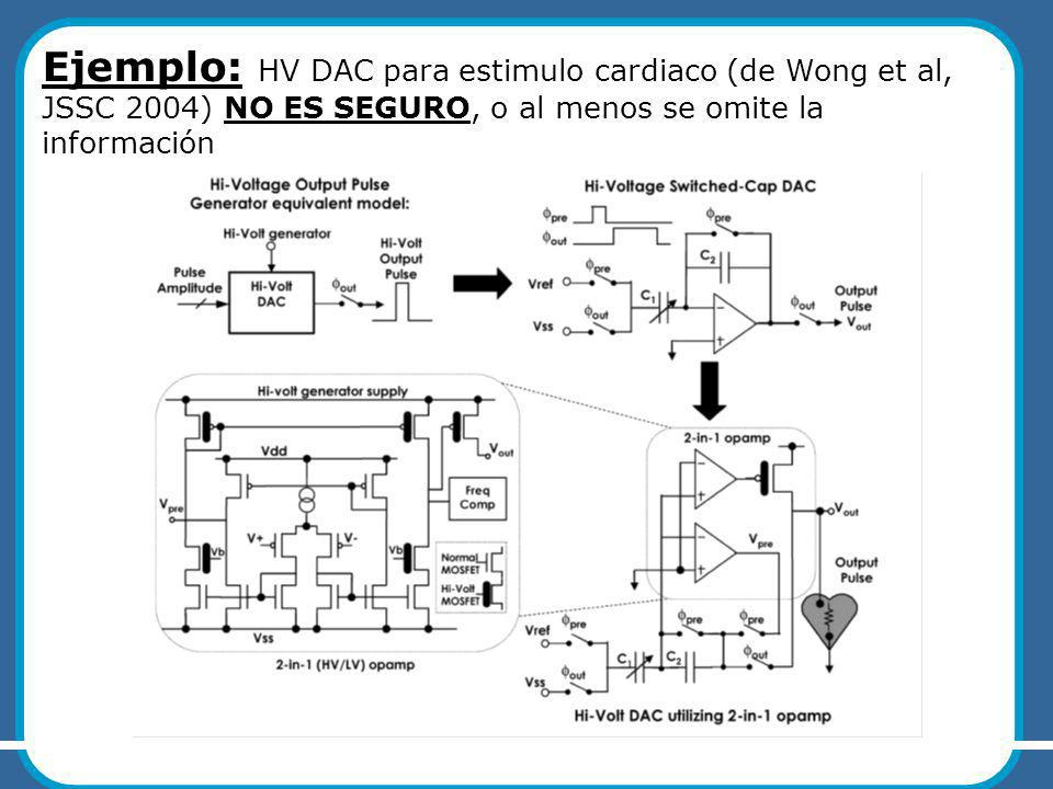 Ejemplo: HV DAC para estimulo cardiaco (de Wong et al, JSSC 2004) NO ES SEGURO, o al menos se omite la información UCCOR10 – M.Miguez, A.Arnaud ASICs