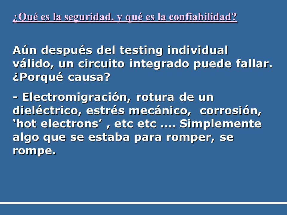 ¿Qué es la seguridad, y qué es la confiabilidad? Aún después del testing individual válido, un circuito integrado puede fallar. ¿Porqué causa? - Elect