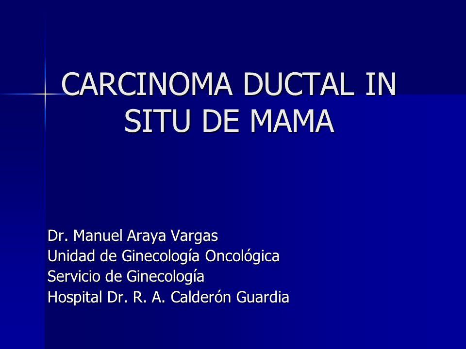 CARCINOMA DUCTAL IN SITU DE MAMA Dr. Manuel Araya Vargas Unidad de Ginecología Oncológica Servicio de Ginecología Hospital Dr. R. A. Calderón Guardia