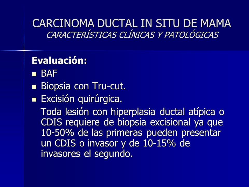 CARCINOMA DUCTAL IN SITU DE MAMA CARACTERÍSTICAS CLÍNICAS Y PATOLÓGICAS Evaluación: BAF BAF Biopsia con Tru-cut. Biopsia con Tru-cut. Excisión quirúrg