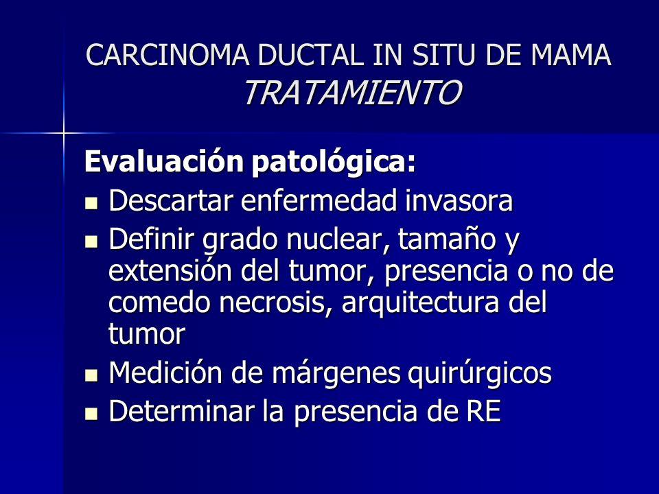 CARCINOMA DUCTAL IN SITU DE MAMA TRATAMIENTO Evaluación patológica: Descartar enfermedad invasora Descartar enfermedad invasora Definir grado nuclear,