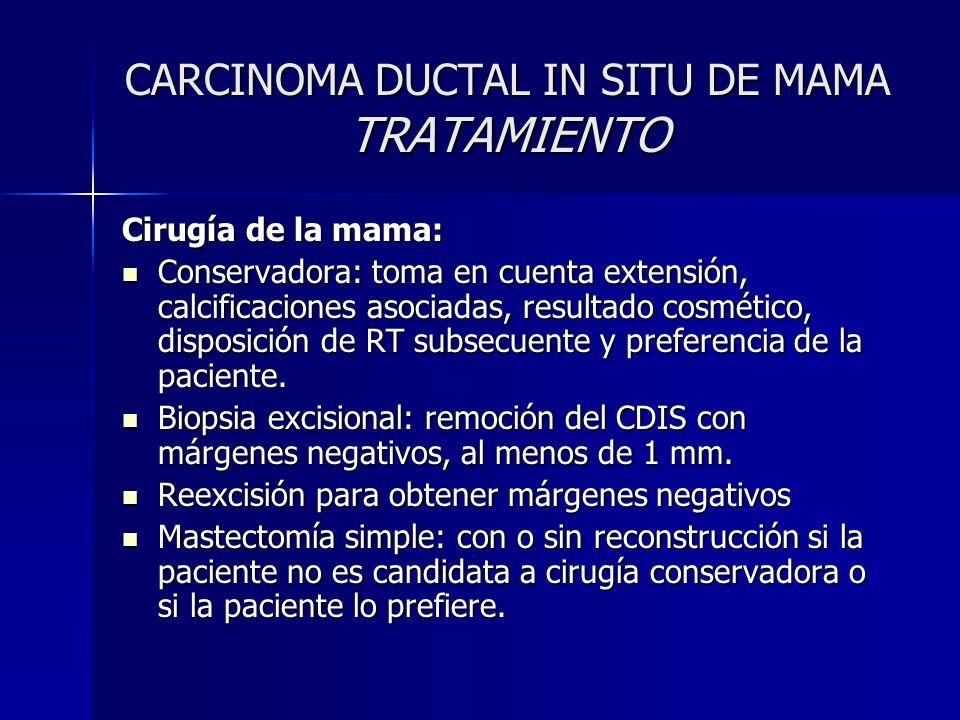 CARCINOMA DUCTAL IN SITU DE MAMA TRATAMIENTO Cirugía de la mama: Conservadora: toma en cuenta extensión, calcificaciones asociadas, resultado cosmétic