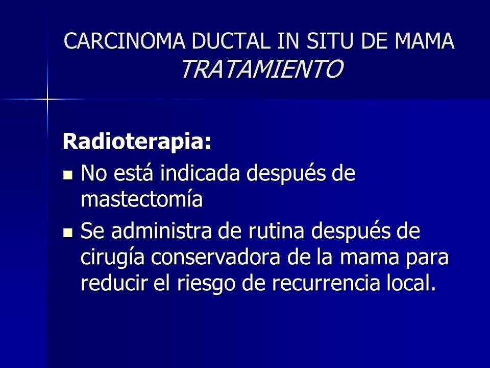 CARCINOMA DUCTAL IN SITU DE MAMA TRATAMIENTO Radioterapia: No está indicada después de mastectomía No está indicada después de mastectomía Se administ