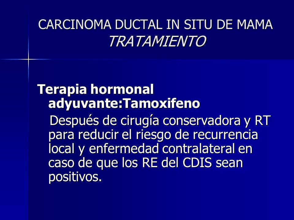 CARCINOMA DUCTAL IN SITU DE MAMA TRATAMIENTO Terapia hormonal adyuvante:Tamoxifeno Después de cirugía conservadora y RT para reducir el riesgo de recu
