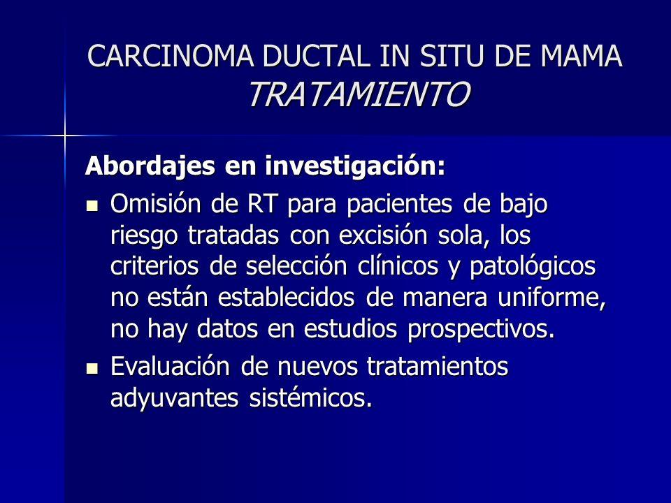 CARCINOMA DUCTAL IN SITU DE MAMA TRATAMIENTO Abordajes en investigación: Omisión de RT para pacientes de bajo riesgo tratadas con excisión sola, los c