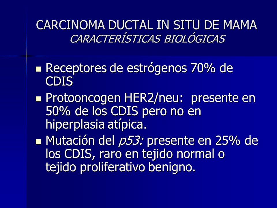 CARCINOMA DUCTAL IN SITU DE MAMA CARACTERÍSTICAS BIOLÓGICAS Receptores de estrógenos 70% de CDIS Receptores de estrógenos 70% de CDIS Protooncogen HER