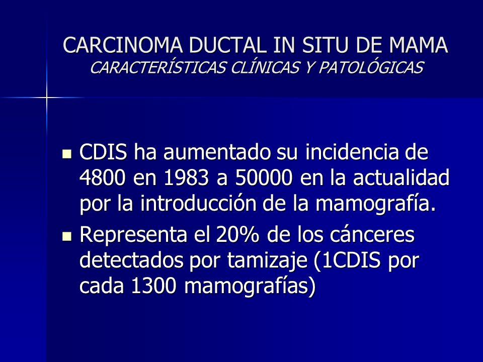 CARCINOMA DUCTAL IN SITU DE MAMA CARACTERÍSTICAS CLÍNICAS Y PATOLÓGICAS CDIS ha aumentado su incidencia de 4800 en 1983 a 50000 en la actualidad por l
