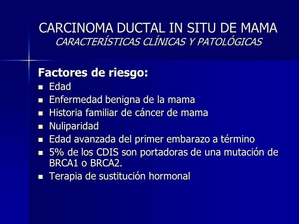 CARCINOMA DUCTAL IN SITU DE MAMA CARACTERÍSTICAS CLÍNICAS Y PATOLÓGICAS Factores de riesgo: Edad Edad Enfermedad benigna de la mama Enfermedad benigna