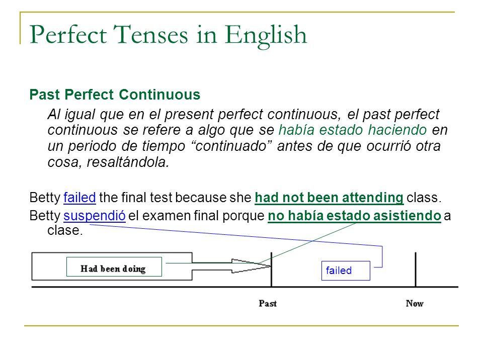 Perfect Tenses in English Past Perfect Continuous Al igual que en el present perfect continuous, el past perfect continuous se refere a algo que se ha