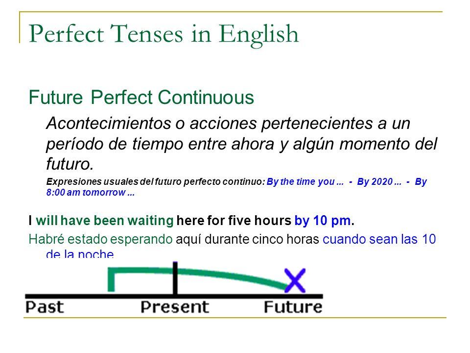 Perfect Tenses in English Future Perfect Continuous Acontecimientos o acciones pertenecientes a un período de tiempo entre ahora y algún momento del f