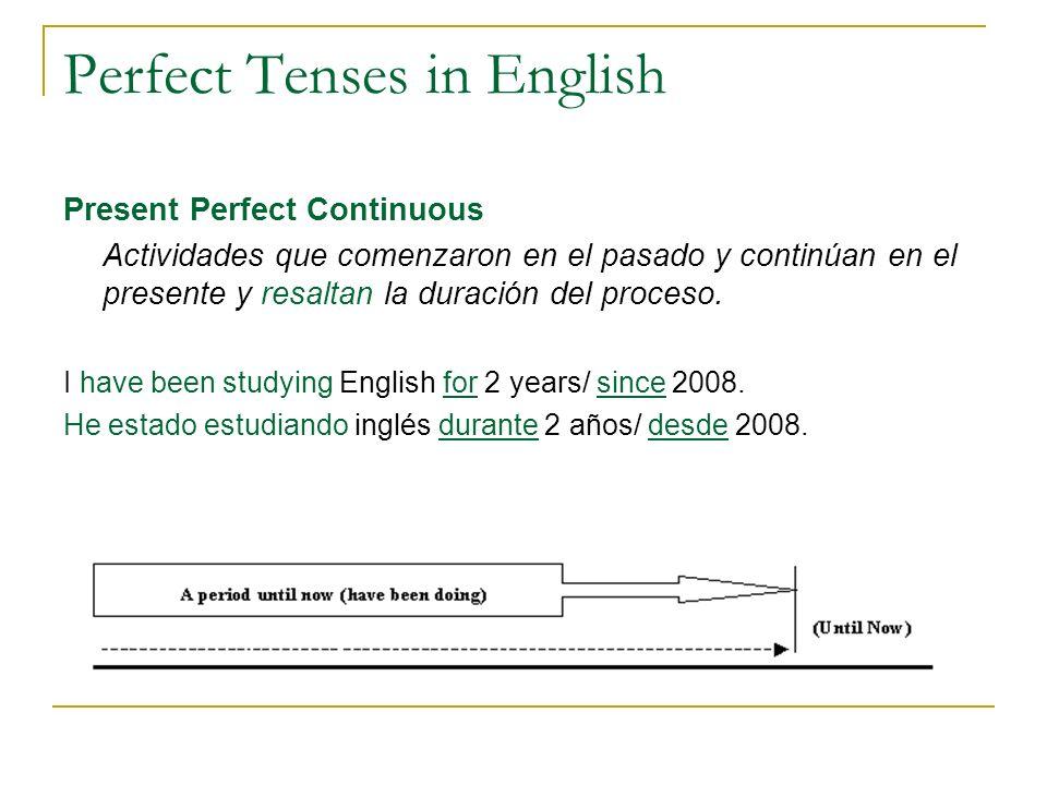 Perfect Tenses in English Present Perfect Continuous Actividades que comenzaron en el pasado y continúan en el presente y resaltan la duración del pro