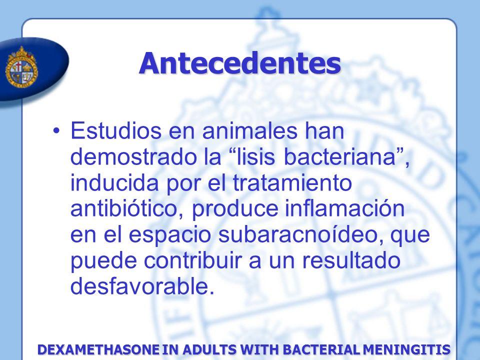 Estudios en animales han demostrado la lisis bacteriana, inducida por el tratamiento antibiótico, produce inflamación en el espacio subaracnoídeo, que