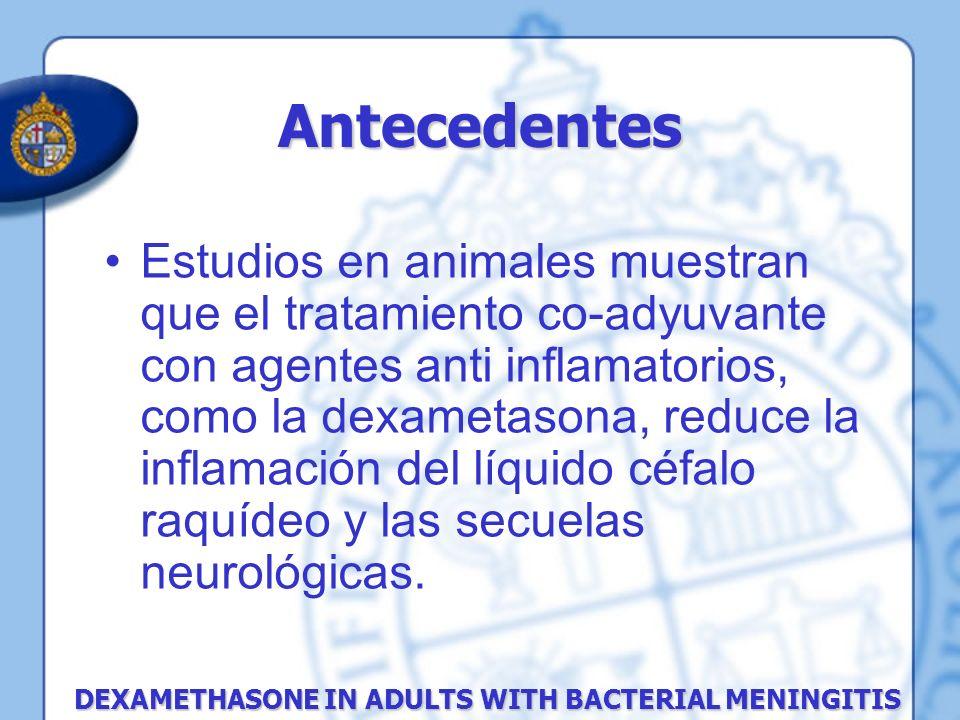 Estudios en animales muestran que el tratamiento co-adyuvante con agentes anti inflamatorios, como la dexametasona, reduce la inflamación del líquido