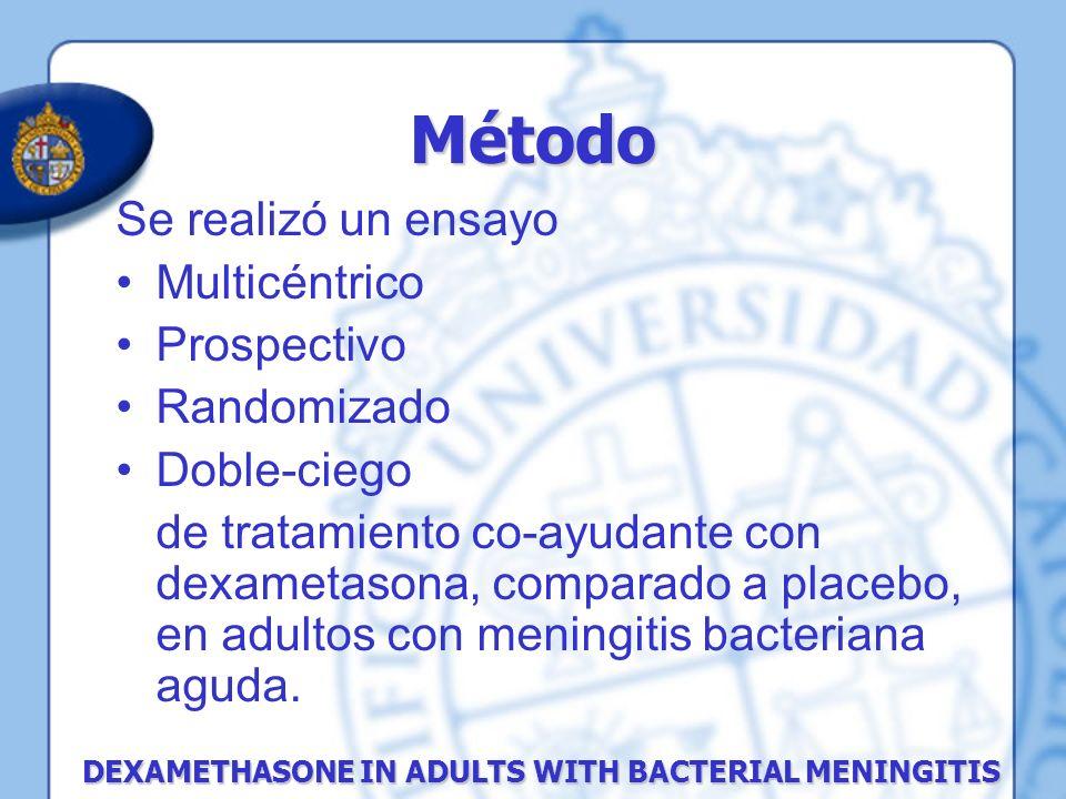 Se realizó un ensayo Multicéntrico Prospectivo Randomizado Doble-ciego de tratamiento co-ayudante con dexametasona, comparado a placebo, en adultos co