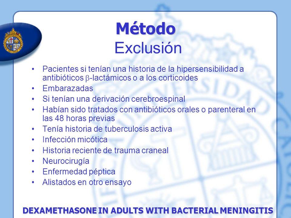 Pacientes si tenían una historia de la hipersensibilidad a antibióticos -lactámicos o a los corticoides Embarazadas Si tenían una derivación cerebroes