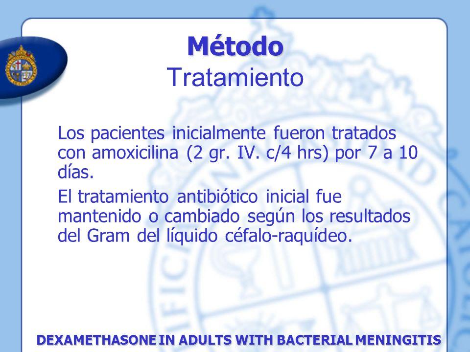 Método Método Tratamiento DEXAMETHASONE IN ADULTS WITH BACTERIAL MENINGITIS Los pacientes inicialmente fueron tratados con amoxicilina (2 gr. IV. c/4