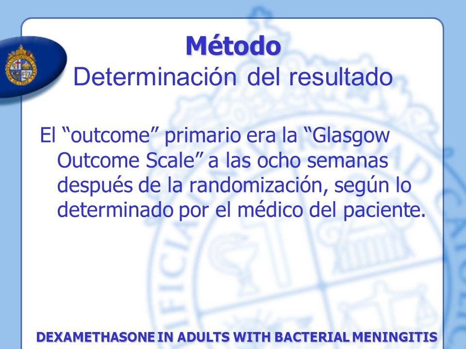 Método Método Determinación del resultado DEXAMETHASONE IN ADULTS WITH BACTERIAL MENINGITIS El outcome primario era la Glasgow Outcome Scale a las och