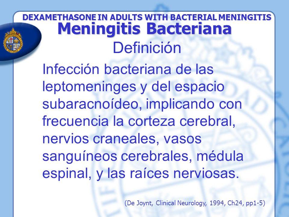 Infección bacteriana de las leptomeninges y del espacio subaracnoídeo, implicando con frecuencia la corteza cerebral, nervios craneales, vasos sanguín