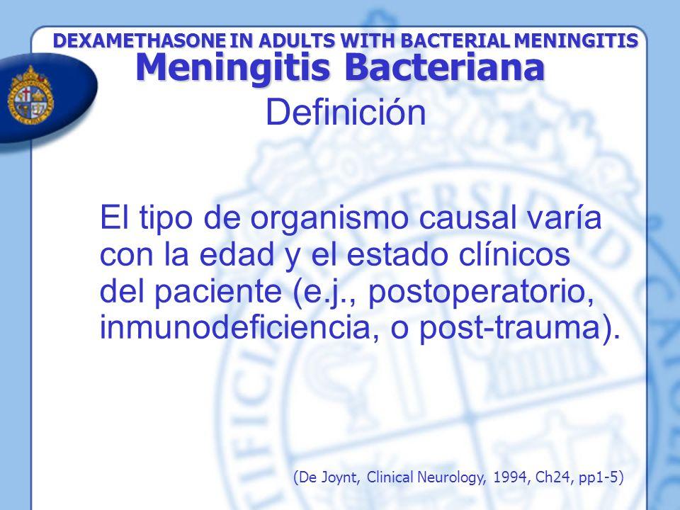Pacientes si tenían una historia de la hipersensibilidad a antibióticos -lactámicos o a los corticoides Embarazadas Si tenían una derivación cerebroespinal Habían sido tratados con antibióticos orales o parenteral en las 48 horas previas Tenía historia de tuberculosis activa Infección micótica Historia reciente de trauma craneal Neurocirugía Enfermedad péptica Alistados en otro ensayo Método Método Exclusión DEXAMETHASONE IN ADULTS WITH BACTERIAL MENINGITIS