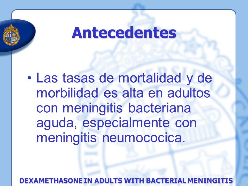 Método El outcome secundario fue: Muerte Anormalidades neurológicas focales (definidas como afasia, parálisis de pares craneanos, mono paresias, hemi paresias y ataxia severa) Pérdida de audición Hemorragia gastrointestinal (hemorragia clínicamente significativa con disminución de la hemoglobina) Infección micótica Herpes zoster Hiperglicemia (glucosa mayor de 144 mg/dl [mmol 8,0 por litro]).