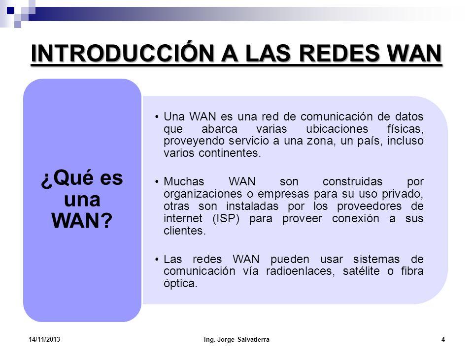 INTRODUCCIÓN A LAS REDES WAN Una WAN es una red de comunicación de datos que abarca varias ubicaciones físicas, proveyendo servicio a una zona, un paí