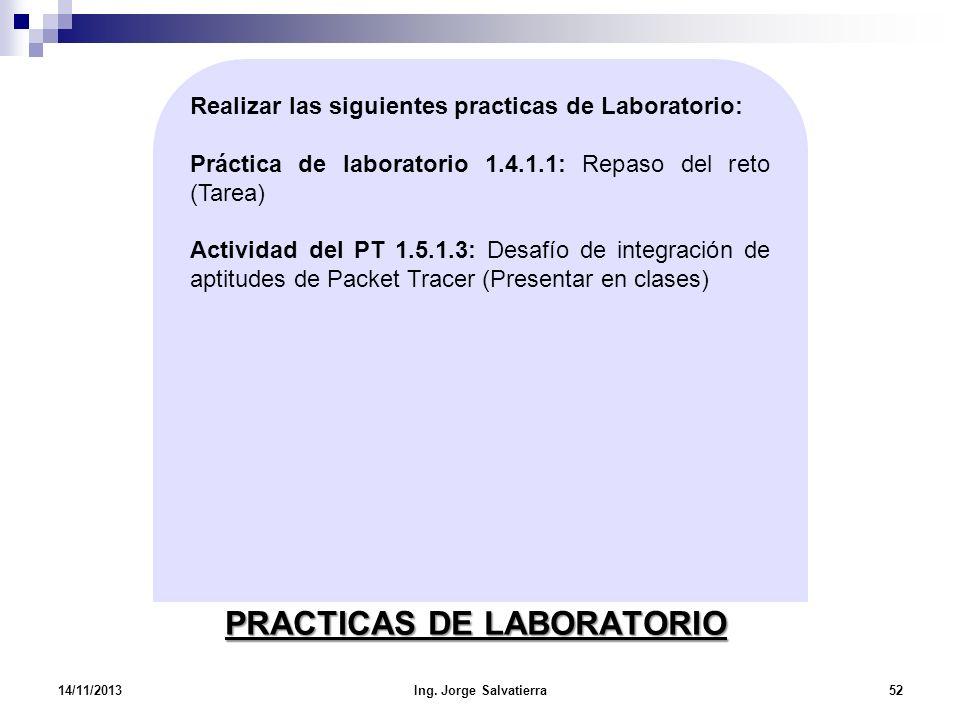 PRACTICAS DE LABORATORIO 14/11/2013Ing. Jorge Salvatierra52 Realizar las siguientes practicas de Laboratorio: Práctica de laboratorio 1.4.1.1: Repaso
