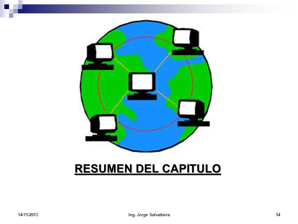 RESUMEN DEL CAPITULO 14/11/201354Ing. Jorge Salvatierra