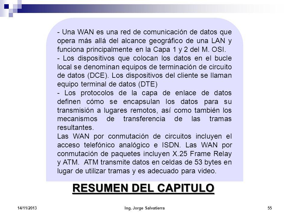 RESUMEN DEL CAPITULO 14/11/2013Ing. Jorge Salvatierra55 - Una WAN es una red de comunicación de datos que opera más allá del alcance geográfico de una