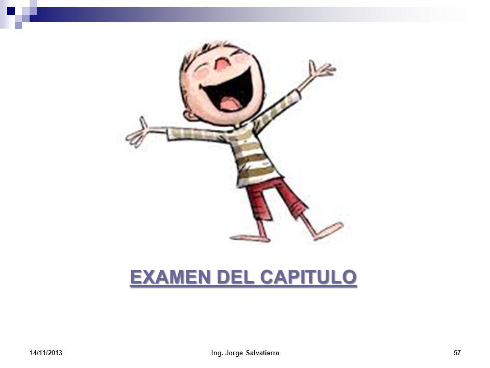 EXAMEN DEL CAPITULO EXAMEN DEL CAPITULO 14/11/201357Ing. Jorge Salvatierra