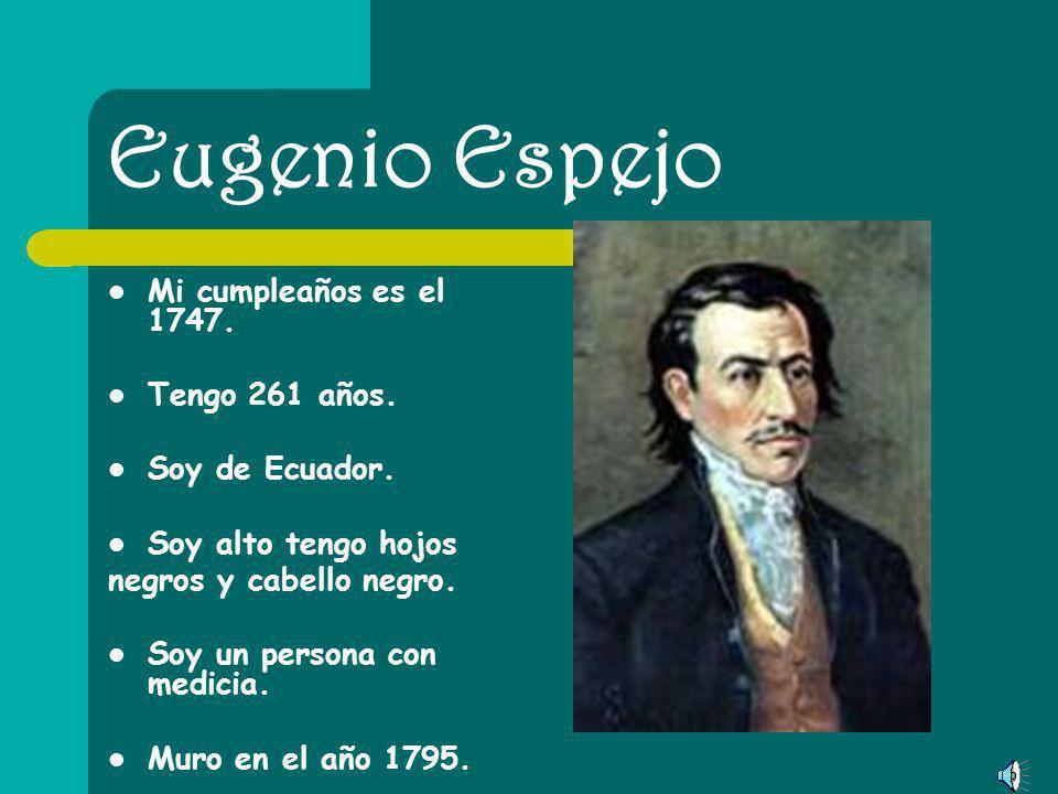 Eugenia Del Pino Mi cumpleaños es el 1945. Tengo 63 años. Soy de Ecuador. Soy alto tengo hojos cafes y cabello negro. Soy un bilogista.