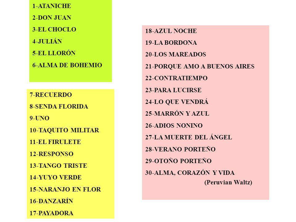 1-ATANICHE 2-DON JUAN 3-EL CHOCLO 4-JULIÁN 5-EL LLORÓN 6-ALMA DE BOHEMIO 7-RECUERDO 8-SENDA FLORIDA 9-UNO 10-TAQUITO MILITAR 11-EL FIRULETE 12-RESPONS