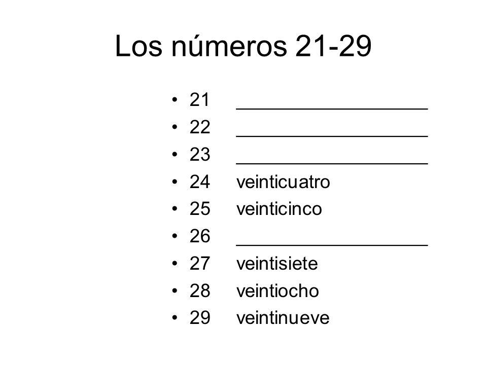 Los números 21-29 21 22 23 24 25 26 27 28 29 __________________ veinticuatro veinticinco __________________ veintisiete veintiocho veintinueve